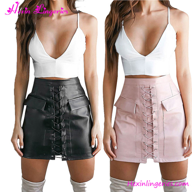 Crazy Discount High Waist Bandage Pocket Leather Pencil Sexy Girl Mini Skirt