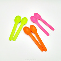 China colorful long custom logo disposable frozen yogurt dessert ice cream plastic spoon with low price