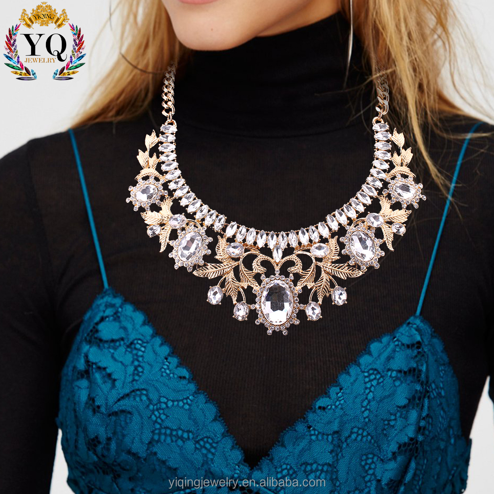 NYQ-00556 factory price luxury big crystal gold plated leaf flower shaped alloy statement necklace fashion jewelry for women