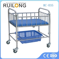 Stainless Steel Hospital Baby Crib Baby Cot With Wheels