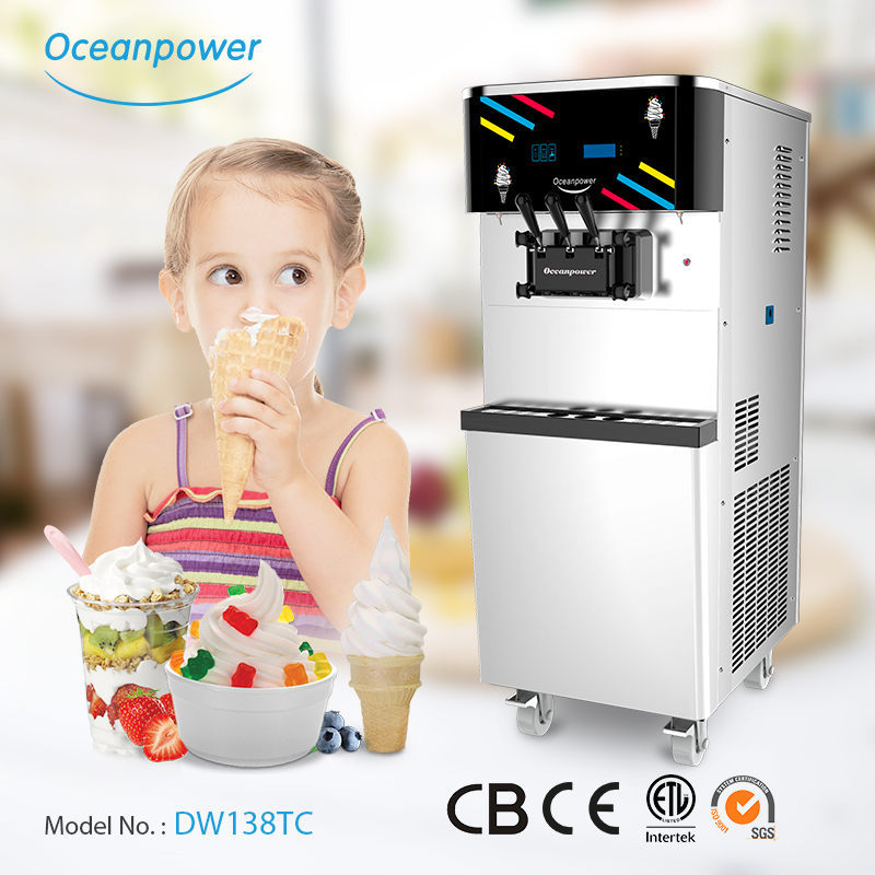 Oceanpower DW138TC 3 in 1 frozen yogurt ice cream making machine Soft Serve Ice Cream Machines for commercial use