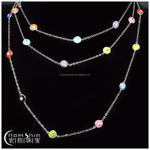 925 sterling silver necklace with colorful eyes charm ,enamel art jewelry for ladies