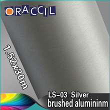 High quality 1.52x30m Brushed Aluminum Silver color car Vinyl Film