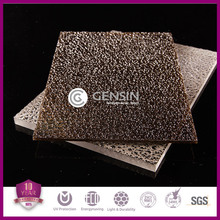 10-year quality warranty 100% virgin Sabic/Bayer material PC material diamond pattern polycarbonate embossed sheets 1220*2440mm