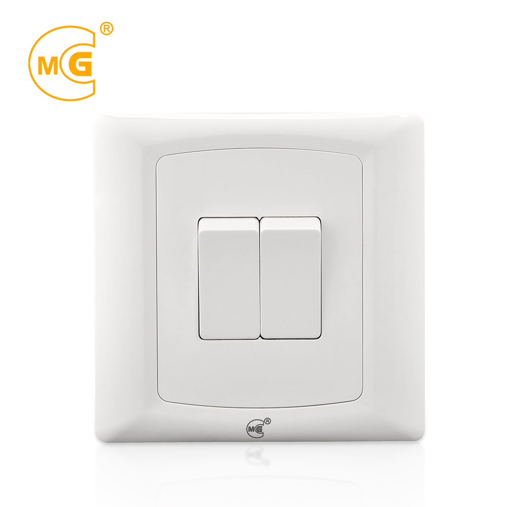 Electrical <strong>10</strong> A two gang one way wall light switch