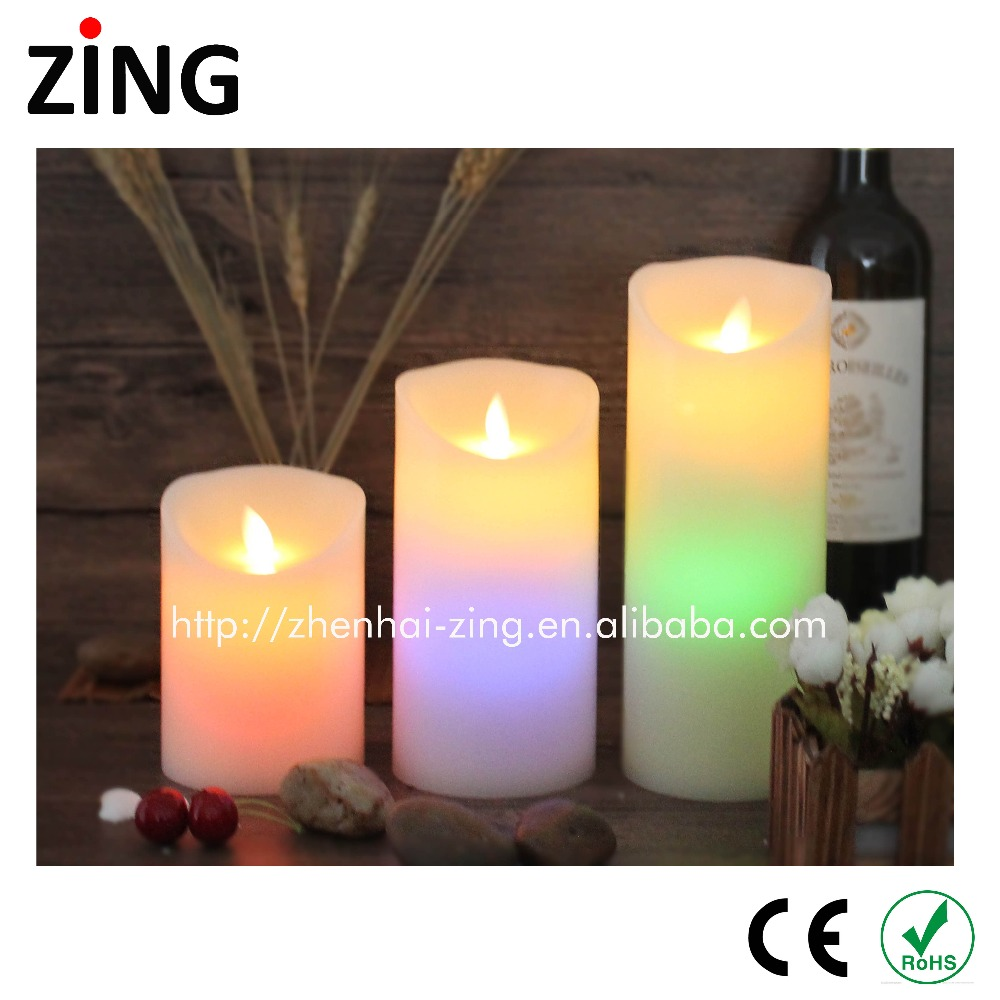 Low Price Color changing paraffin wax candle light set 3 made in China