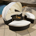 Outdoor rattan round daybed couch sofa