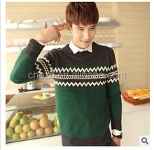 C63895A Men's knited long sleeve round neck sweater