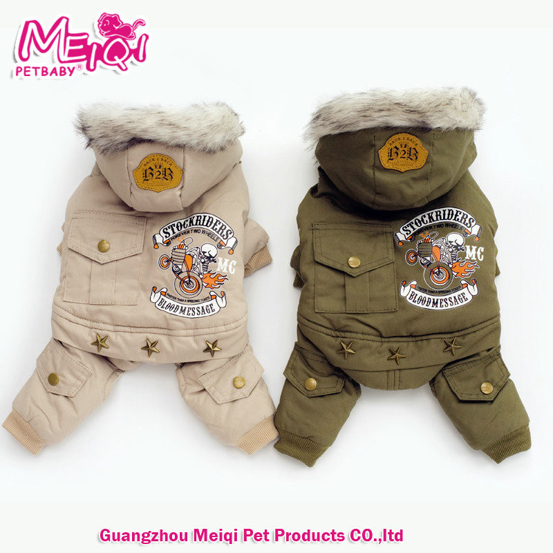 New arrival handsome army green cotton dog winter coat pet clothes with four legs