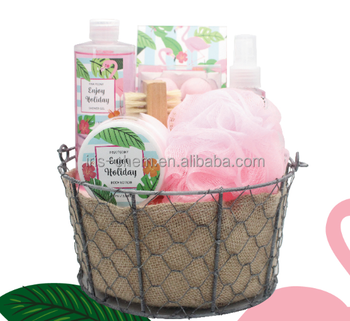 Promotional natural spa bath set gift for women shower set in iron cloth basket
