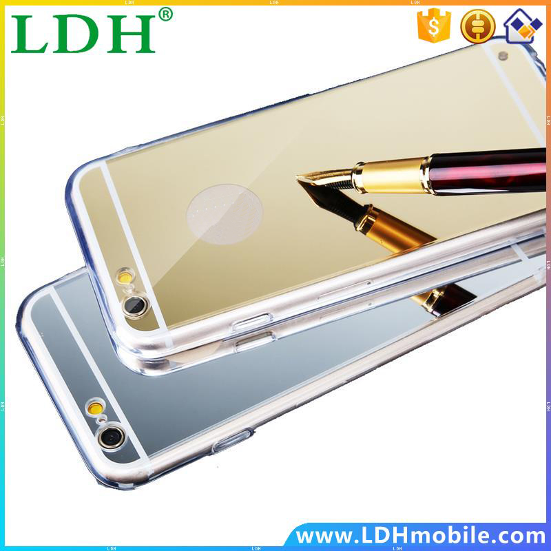 For iPhone 5S 5SE SE Anti-Shock Ultra-thin Shockproof Rose Glod Mirror TPU Gel Transparent Clear Frame Back Cover Case