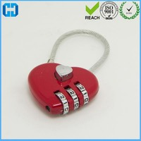 Love Heart Security Cable Mini Password Lock Padlock 3 Digits Combination Code Lock