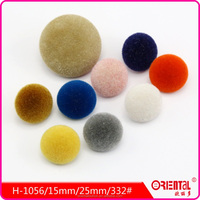 half ball shape shank dyeable fuzz flocking knitwear button