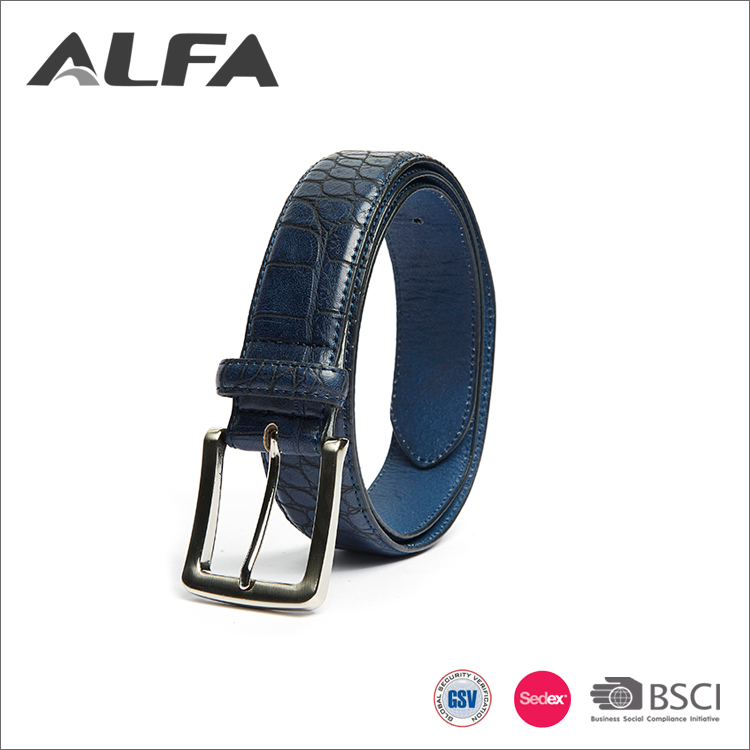 Alfa Cheap Price Wholesale Italy Designer Blue Leather Mens Belts With Irregular Pattern