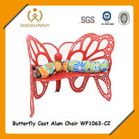WF1063-C2 garden 2-person butterfly shape dining cast aluminum chair