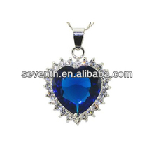 Fashionable Jewelry set Titanic the Heart of Ocean Blue Sapphire Diamond Brass Rhodium Plated Necklace