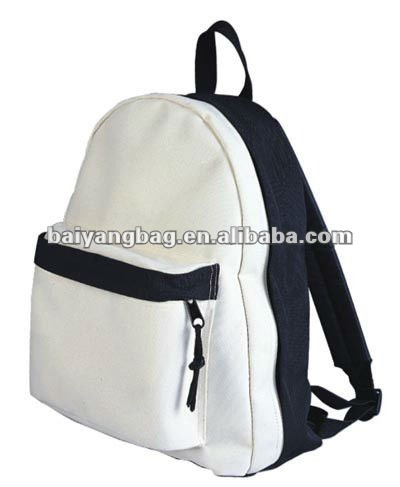 white color school backpack for children under 10 years old in cotton fabric