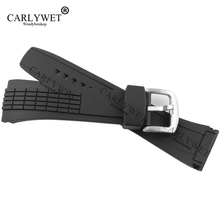 CARLYWET 26mm New Style Black Strap Waterproof Rubber Replacement Watch Band Belt Special Popular with steel Buckle