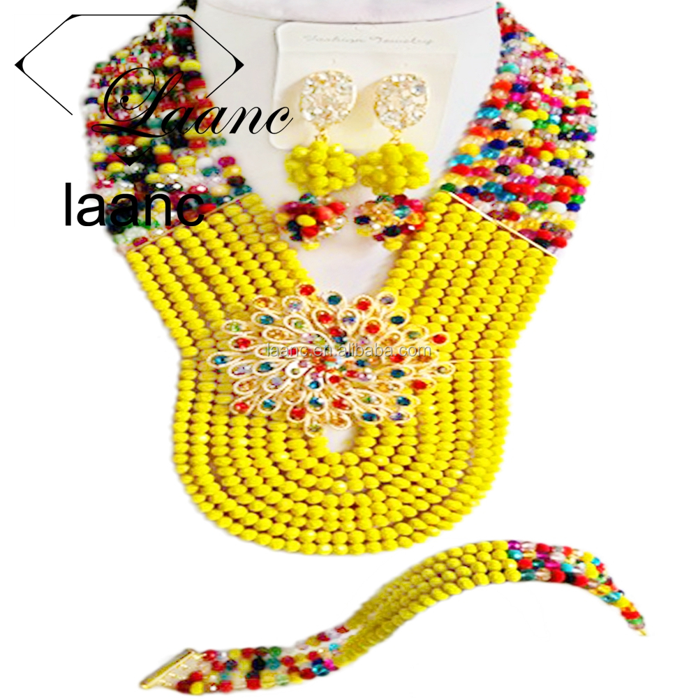 Large 8 Rows Opaque Yellow and Multicolor Handmade Nigerian African Crystal Beads Jewelry Set for Sale Bridal Necklace