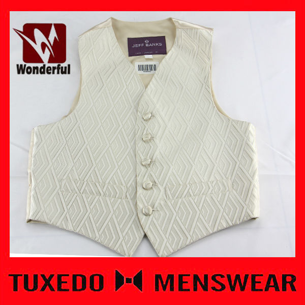 New Quality Cream Paisley Wedding Mens Jacquard Vests