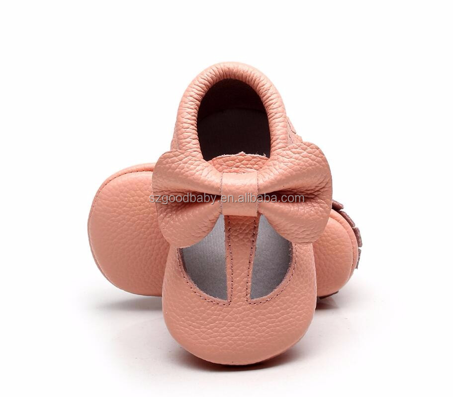 2017 spring wholesale peach color t-bat prewalker baby soft sole leather funny bow shoes