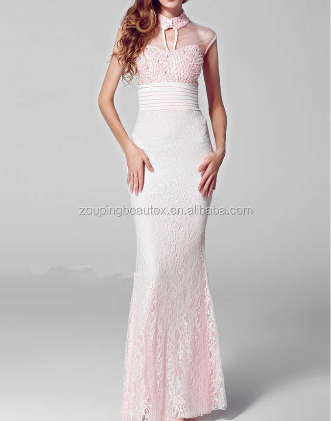 Lace evening dress peach color long lace evening dress