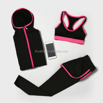 Lady's hoddie and vest and pant fitness sport wear yoga suit