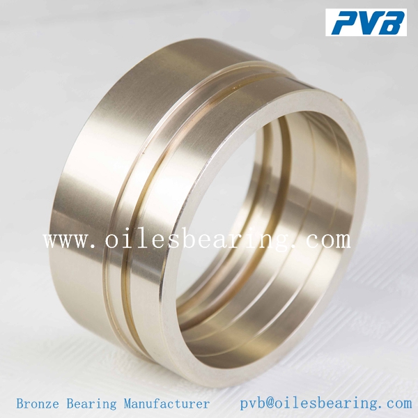 dry sliding cast bronze bearing,oil grooves double loop CuZn32Al5Ni3 bush bearing,cylindrical oil-lubrication bronze bearing