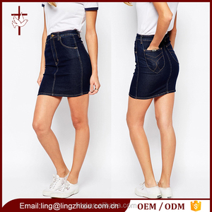 High-rise waist cheap china wholesale clothing jeans skirt for women