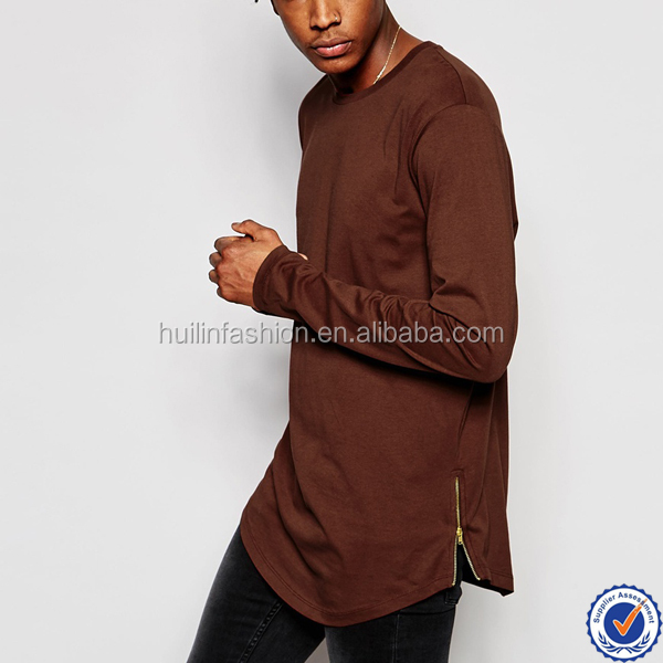 clothing factories in china fashion men plain longline curved hem tee with side zipper