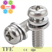 stainless steel cross drive reduce size pan head sem screws with washers SS304/316