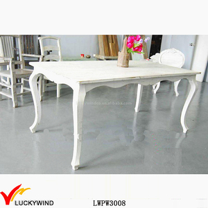 Antique white French wooden dining table