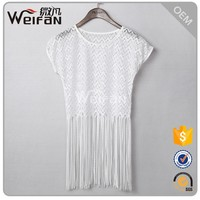 2016 Instyle Sleeveless White Sleeveless Fashion Cutting Blouse Latest Top Designs For Women Frock Top