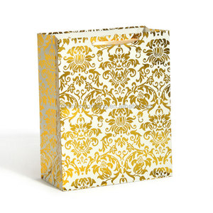 Golden Embossed Shopping Bags Euro MaroonTote Paper Bags