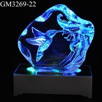 glass decoration iceberg hummingbird with led light