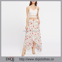 Clothing manufacturers latest design fashion ladies High Low Hemlines Floral Zipper Side Asymmetrical long Skirt