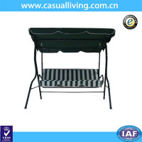 3 Person Striped Adjustable Tilt Canopy Metal Swing