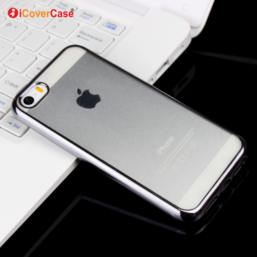 Mobile Phone Case Transparent Clear Electroplating TPU Case for iPhone5 5s 5 s SE Ultra Thin Soft Tpu Back Shell