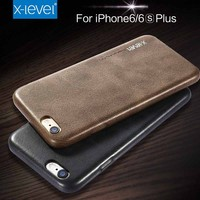 X-Level FREE SHIPPING Hot Sale Vintage Design PU Leather Dark Brown Back Cover Mobile Phone Case for iPhone 6/6S Plus 5.5 Inch