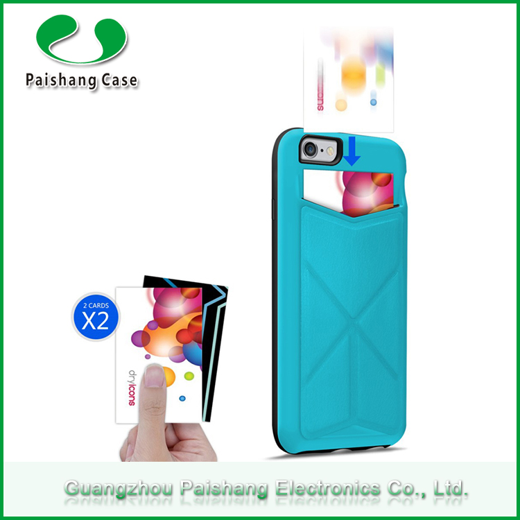 Multicolor TPU+PC+PU universal smart phone protector back case cover for Apple iPhone 6 / 6s with card slot