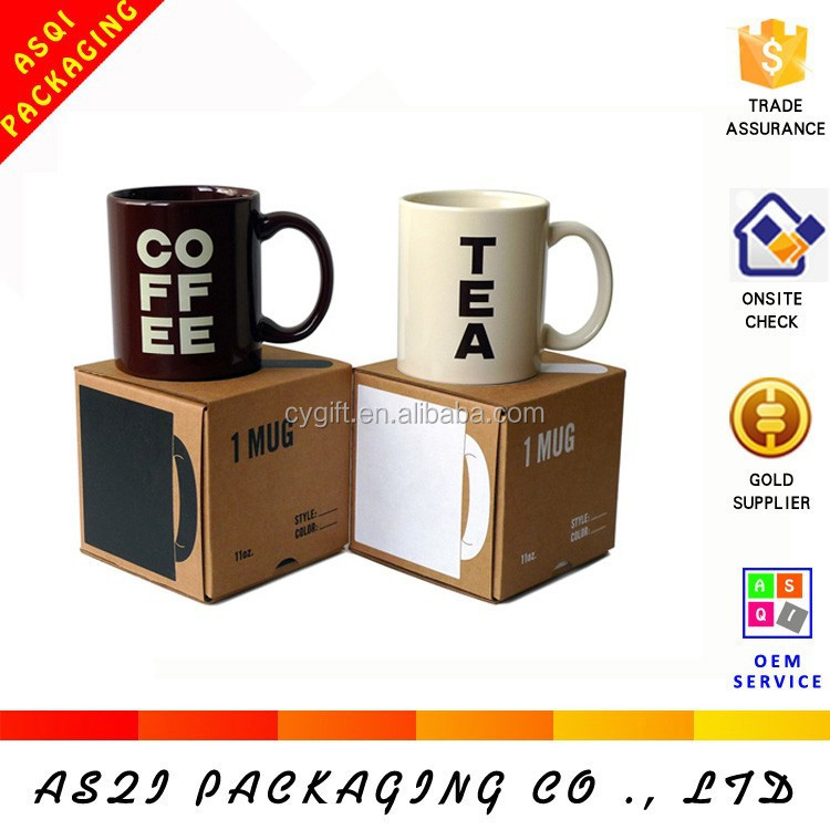 2015 Hot Sales 350g kraft paper lock bottom packaging boxes for mugs