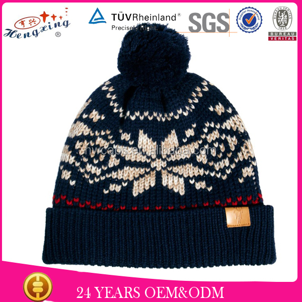 jacquard owner design cute beanie hat for girls fancy winter hats