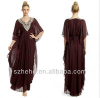 Free shipping CW1952 Casual with half sleeves chocolate chiffon bohemian style mother of the bride dress