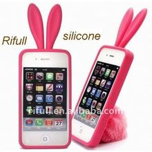 Personalized rabbit ears silicone case for apple iphone4