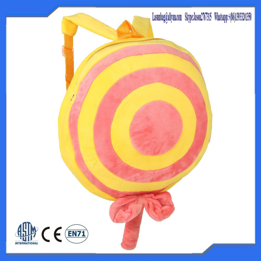 Hot Sale Kids Stuffed Toys Lollipop Plush Backpack Baby School Bag for Child