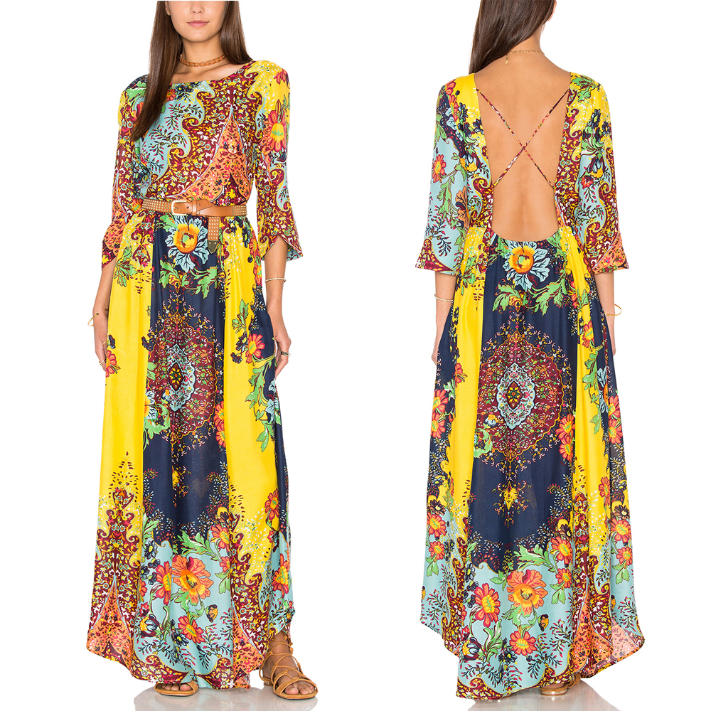 Brazil Tropical forest vibrant vivid colorful cross backless print dress