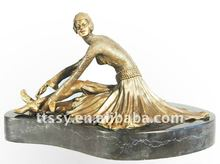 Brass Europe lady figure sculpture
