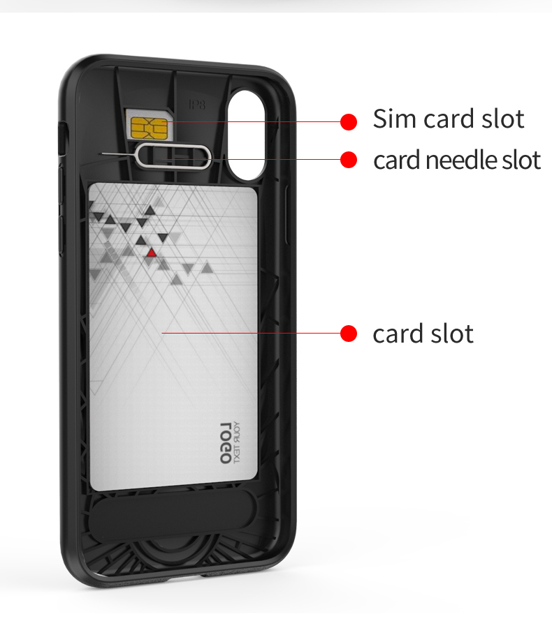 Sim Card And Credit Card Slot Kickstand for iphone x black tpu case,tpu for iphone x case black bulk