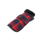 Low price guaranteed quality modern red/dark blue plaid pet dog coats