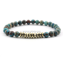 BRP1453g Blue crazy lace agate bracelets, bronze rondelle pyrite beaded stretchy bracelet,stone bracelet for men and women